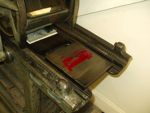 ink is on the second inking plate waiting to be rolled and spread