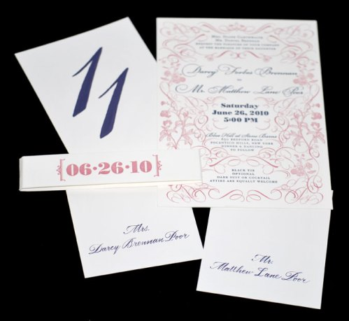 Wedding Invitation, Table Number and Seating Cards in Bickham